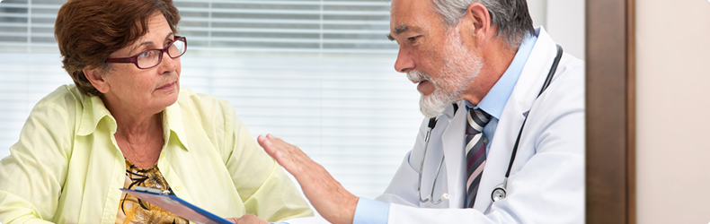 picture of woman and doctor talking